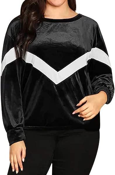 Lethez Women Long Sleeve T Shirt Plus Size Color Blocking Strip Casual Patchwork Autumn Tops