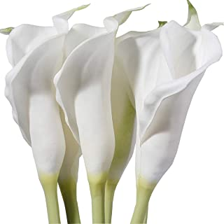 M&A Decor 25'' Large Calla Lily Bulbs 6 PCS White Natural Look Artificial Lillies Flowers with Long Stem for Wedding Party Tall Vase Table Centerpiece Decoration