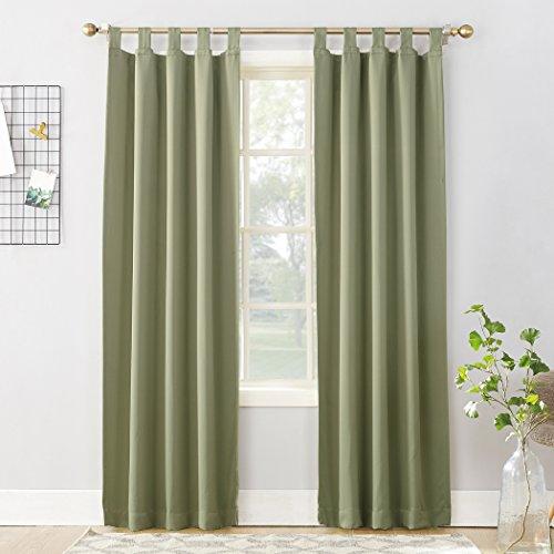 "Sun Zero 51933 Easton Blackout Energy Effcient Tab Top Curtain Panel, 40"" x 84"", Sage Green"