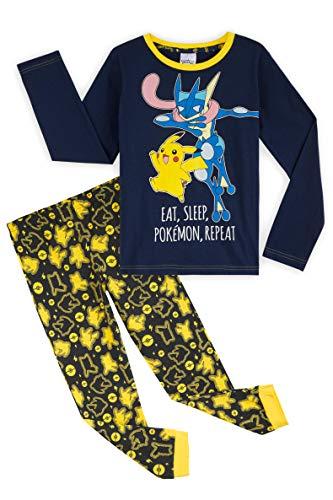 Pokemon Schlafanzug Jungen, Pikachu und Greninja Pyjama Kinder, 100% Baumwolle Kinder Schlafanzug Lang 4-14 Jahre (9-10 Jahre, Blau)