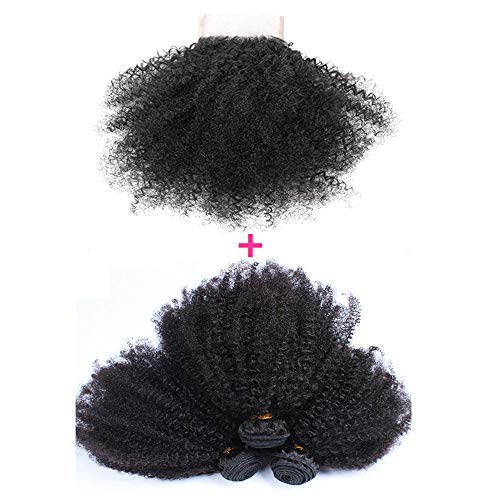 Brazilian Afro Kinky Curly Human Hair 3 Bundles with 4x4 Free Part Lace Closure( 14 16 18+12 )Unprocessed Virgin Hair Weave Weft Grade 10A Hair for Black Women Natural Color