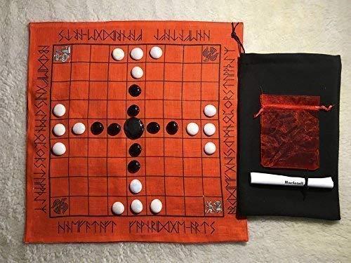 Historic Hnefatafl linen portable board game set with Rune border