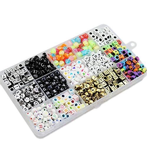 Halimer 1100pcs 15 Rejillas de Letras de cuadrícula Conjunto de Material con Cuentas DIY Pulsera Hecha a Mano Collar Anillo Accesorios