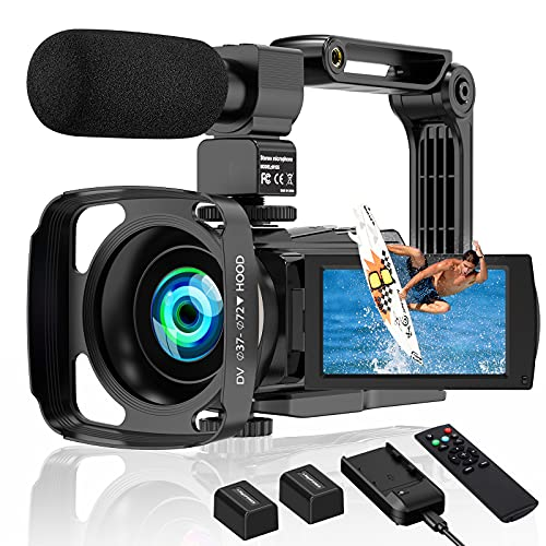 4K Camcorder Video Camera 60FPS 48MP Vlogging Camera for YouTube WiFi 16X Digital Camera IR Night Vision Camcorders with Microphone Handheld Stabilizer Lens Hood 2 Batteries & Battery Charger