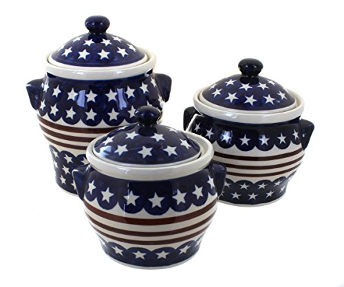 Blue Rose Polish Pottery Stars & Stripes Canister Set