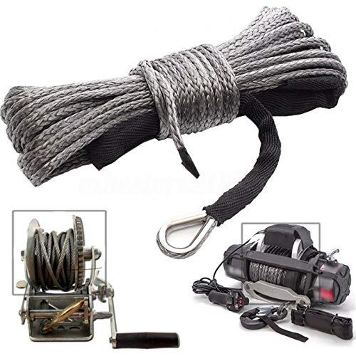 6mmx15m 7700lbs Synthetische Seilwinde Seilmantel Kabel für Offroad Auto ATV UTV SUV LKW 4 x 4 mit Schutzhülle und Haken