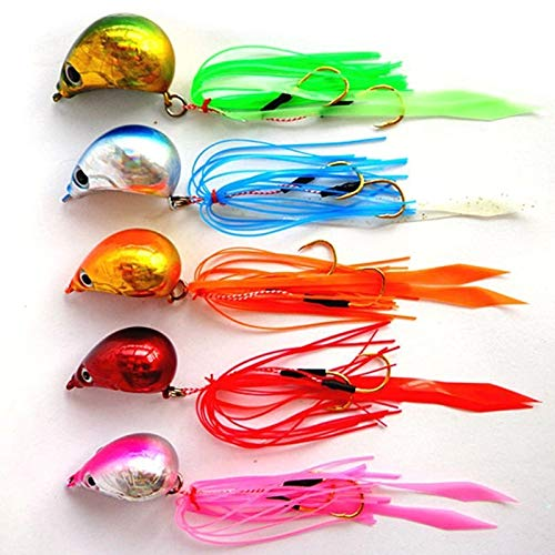 WYS-YUER, 5pcs 100g/90g/80g/70g/60g/50g/40g Sea Fish Jig Lead Head with Hook Silicone Fake Beard Fishing Lure Baits (Color : 100)
