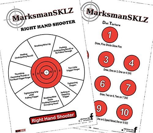 Diagnostic And Training Pistol Shooting Targets (Pack Of 20 + 5 Bonus Drill Targets) | High Visibility 11'x17' | Error Analysis and Correction Paper Targets | Indoor Or Outdoor Range | Gift Idea