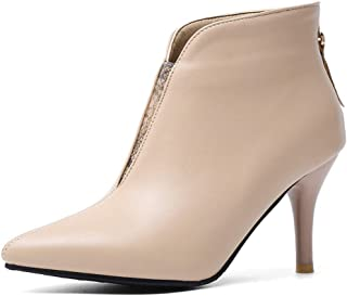 Nafanio Women's Pointed Toe Ankle Boots Winter Back Zipper Stiletto High Heel Office Dress Short Booties