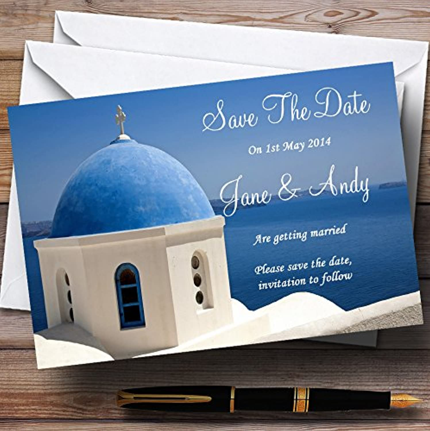 Santorini Greece Abroad Personalised Wedding Stationery Save The Date Cards