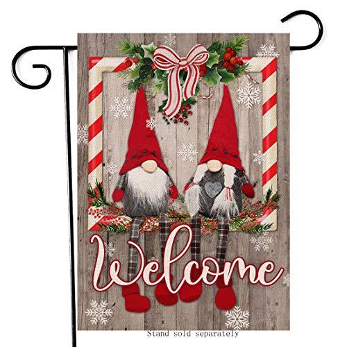 Artofy Welcome Christmas Gnomes Decorative Small Garden Flag, Merry Xmas House Yard Outside Farmhouse Decor Winter Holiday Home Decorations Seasonal Outdoor Burlap Flag Vertical Double Sided 12 x 18
