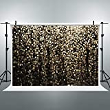 Riyidecor Golden Dots Backdrop Shiny Sequin Photography Background Glitter Gold and Black 7Wx5H Feet Decoration Celebration Props Party Photo Shoot Backdrop Vinyl Cloth