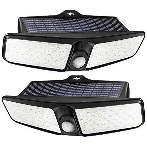 100 LED Solarlampe für außen【Große Doppel - Leuchtpanel】 LITOM Solarleuchte, 270°Beleuchtungswinkel, solar bewegungsmelder aussen, Solarleuchte mit bewegungsmelder,Hof, Garage –2 Stück