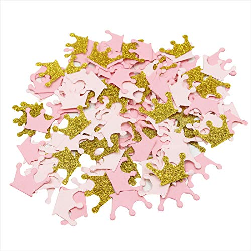 Mybbshower Paper Crown Confetti for Princess Birthday Party Table Scatter Baby Girl Shower Pink Gold Glitter Decorations Pack of 200