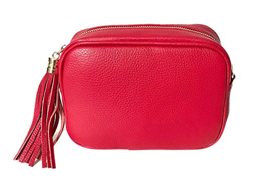 NANDO'S Top Fashion schoudertas Made in Italy echt leer model DISCOBAG rood