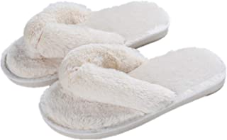 b535476f23d Gorgerous Womens Slippers Cozy Short Plush Lining Thong Furry Slippers  House Office Shoes Beige 40