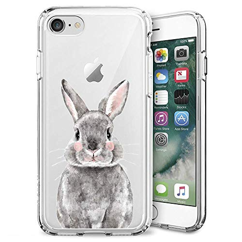 Blue Glitter Anchor iPhone 7 8 Case Customized Design Anti-Scratch Flexible Shock Absorption Soft TPU Protective Phone Case for iPhone 7 8-Clear (Grey Bunny)