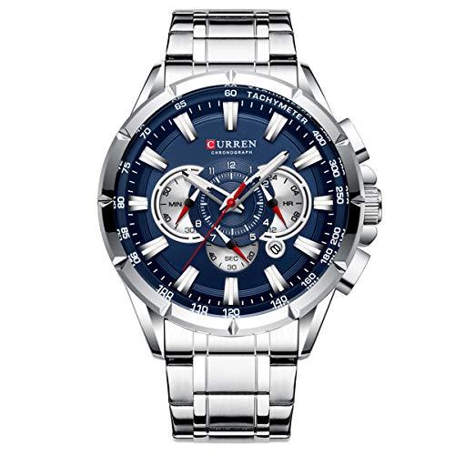 CURREN 8363 Relógio Masculino de Pulso, de Quartzo com Pulseira de Aço inoxidável