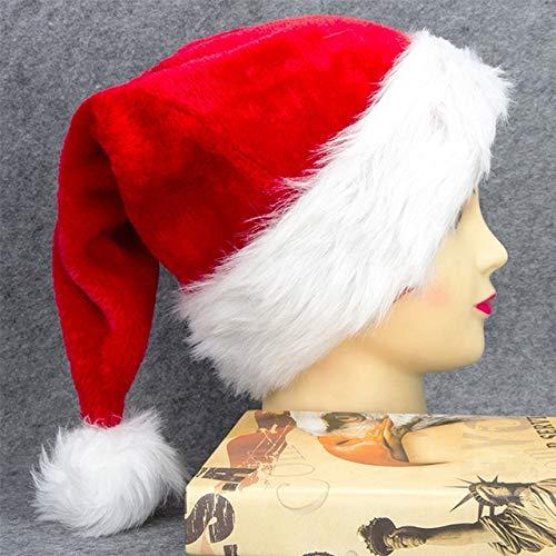 1 Gorra de Navidad Gruesa y cálida de Felpa Lindo Sombrero de Disfraces de Papá Noel Sombreros de Navidad adecuados para decoración de Adultos y niños-Thicker-Adult