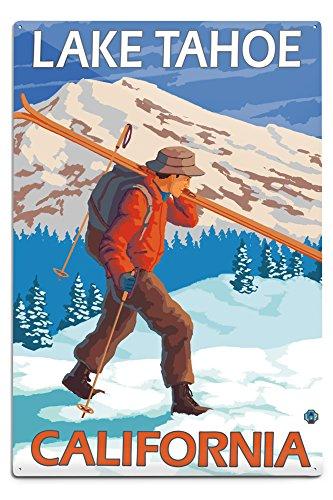 Lantern Press Lake Tahoe, California, Skier Carrying Snow Skis (12x18 Aluminum Wall Sign, Wall Decor Ready to Hang)
