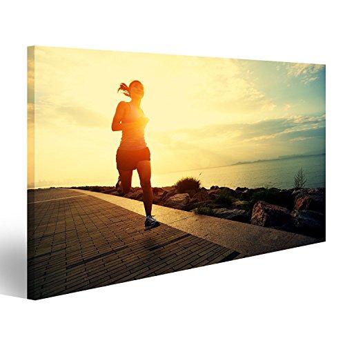 islandburner Bild Bilder auf Leinwand Läufer-Athlet am Meer laufen. Frau Fitness Silhouette Sonnenaufgang Jogging Workout Wellness . Wandbild, Poster, Leinwandbild EZC
