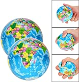 HEALT 2PC Squeeze Stress Balls,Stress & Anxiety Relief Toy,for Class/Pressure Relief/Party Favor (Globe),Material Soft, Easy to Squeeze, and Rebound Quickly