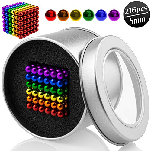 POJI Magic Metal Toy Ball pcs, Mini Small Coloured Construction Tiny Rainbow Metal Blocks Beads Fidget Building Sets Sculpture Spheres Stress Relief