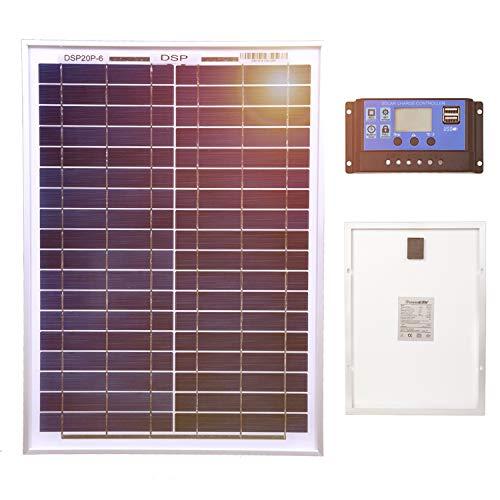 DOKIO Panel solar monocristalino de 20 W con regulador de 10 A para cargar batería de 12 V para autocaravana, caravana, caravana, caravana, caravana, barco o yate, casa fuera de la red
