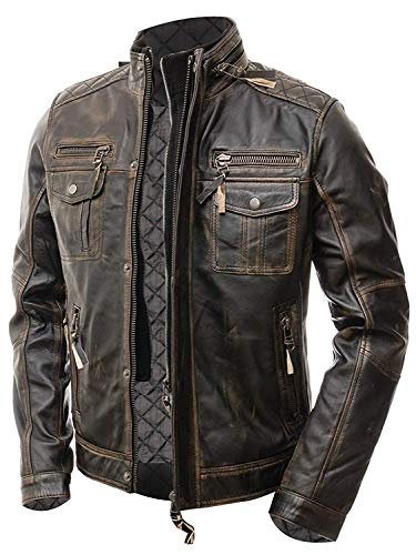 Areena Design Men's Motorcycle Distressed Brown Cafe Racer Real Leather Jacket