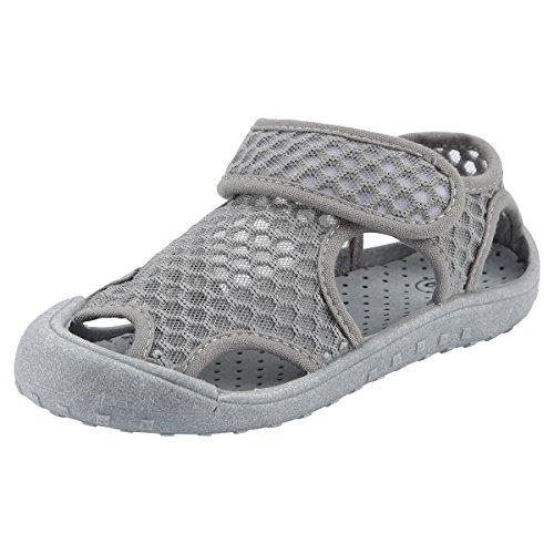 Qimaoo Kinder Sommer Sandalen Outdoor Indoor Schuhe Geschlossene Atmungsaktiv Strand Wanderschuhe für Baby,Grau,25 EU