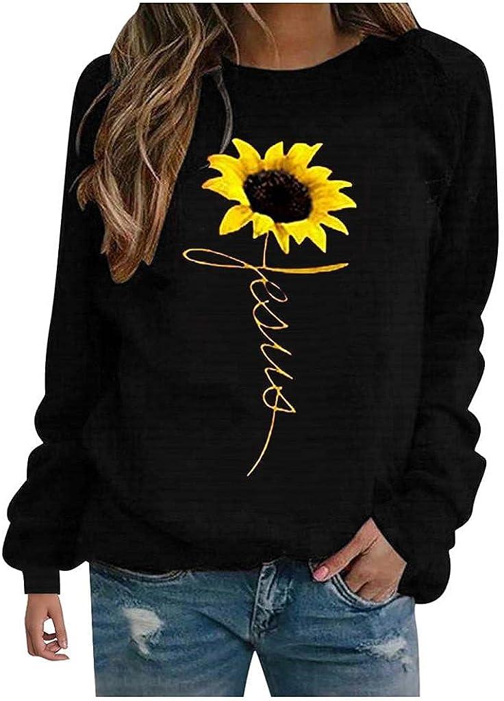 ONHUON Womens Long Sleeve Tops,Women Sweatshirts Trendy Plus Size Long Sleeve Aesthetic Pullover Sunflower Graphic Shirts