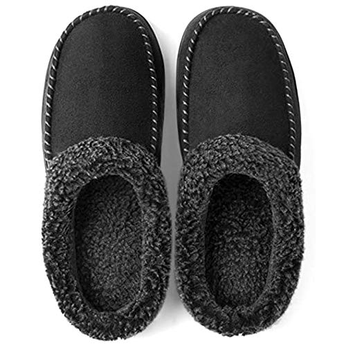ULTRAIDEAS Men's Cozy Memory Foam Moccasin Suede Slippers with Fuzzy Plush Wool-Like Lining, Slip on Mules Clogs House Shoes with Indoor Outdoor Anti-Skid Rubber Sole(Black, 9-10)