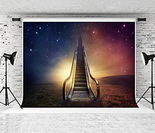 NANITHG Photography Background an Escalator goes up to The Night Sky Party Decoration Banner Photo Booth Backdrop for Studio Props 12x8FT