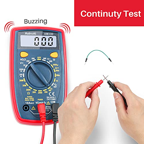 AstroAI Multimeter 2000 Counts Digital Multimeter with DC AC Voltmeter and Ohm Volt Amp Tester ; Measures Voltage, Current, Resistance; Tests Live Wire, Continuity