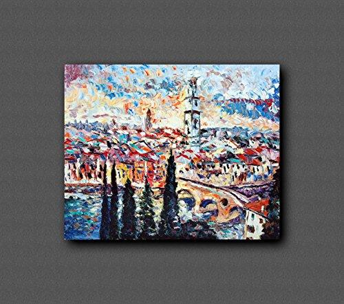 Pintado con pintura expresionista, espátulas de pintura, pieza pintada a mano y única, decoración mural. Arte con colores puros - VERONA AL TRAMONTO - óleo sobre lienzo 100x80cm