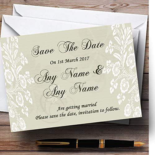 Vintage Max 78% OFF Lace Sage Green Chic Wedding Save money Date The Personalized