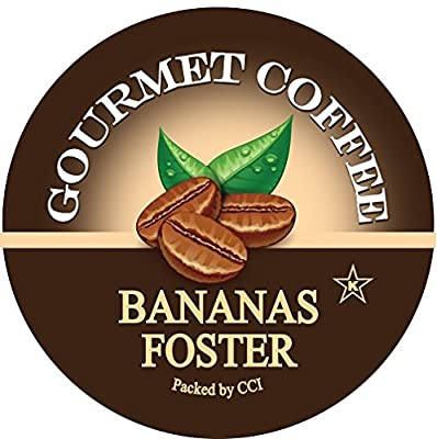 Bananas Foster Coffee, Medium Roast Gourmet Flavored Coffee Pods, 24 Count, Single Serve Cups Compatible With All Keurig K-cup Brewers