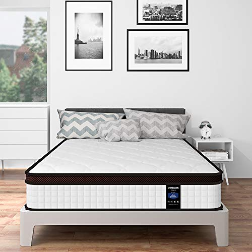 Kescas 5FT King Mattress, 10 Inch Height Memory Foam and Innerspring Hybrid Mattress with Individually Wrapped Coils Innerspring Mattress with CertiPUR-US Certified - Medium Firm Feel - 150x200x25cm