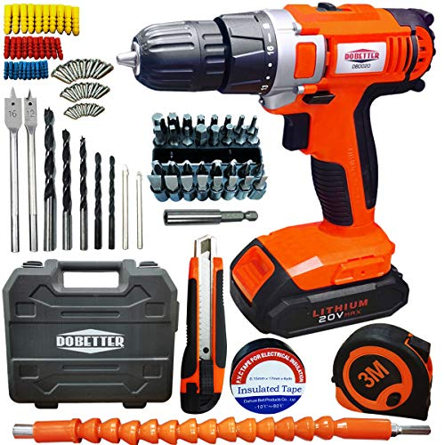 20V Electric Power Drill Cordless Drill Driver with 46 Pcs Accessories 2 Variabl