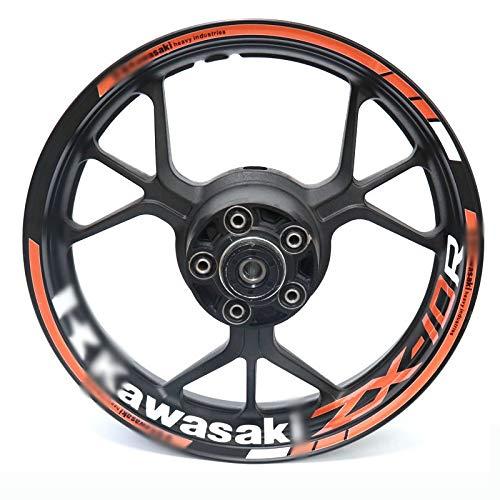 HUANGRONG Cubierta de rueda universal para Kawasaki ZX10R ZX-10R motocicleta reflectante llanta raya calcomanía delantera trasera calcomanía conjunto completo (color: 17)