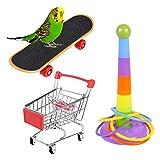 atnight Papagei Spielzeug Training Aktivitäten Set, 3 PCS Parrot Intelligence Spielzeug Mini Shopping Trolley Skateboard Trainingsringe Lustiges Vogelspielzeug für Wellensittich Sittich Nymphensittich