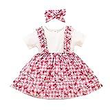 Toddler Newborn Lot de 2 robes de soirée pour fille avec col rond et manches courtes - - 9-12 mois
