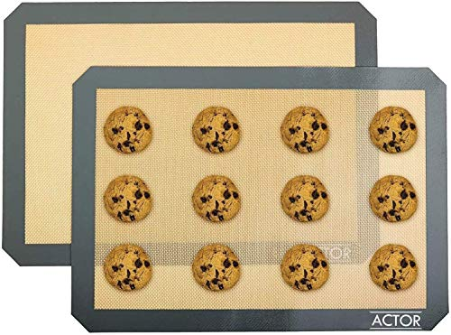 2 Baking Mats - Tray pan liner for Healthy, Fat-free dishes - Food-grade Silicon Liner Reusable up to 2,000 Times - Non-Stick Cookie Sheets - Perfect for Macarons, Pastry, Bread, Bun making