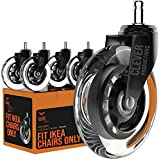 Caster Chair Wheels Office Replacement Set of 5 | FIT IKEA Chairs ONLY Rollerblade Style 3 Inch by Clever Casters | No Floor Mat Heavy Duty Protection for Hardwood Tile (10 mm)