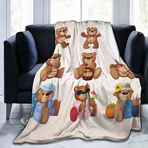 Manta mullida, lindos ositos de peluche felices con divertidos rostros diferentes, diseño nostálgico para niños, ultra suave, manta para dormitorio, cama, TV, cama de 152 x 127 cm