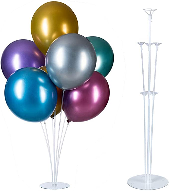 Balloon Stand Kit,4 Pack of Table Balloon Stick Holder,Clear Balloon Cup with Balloon Pole and Flower Stand Base Table Desktop Support Holder for Party Wedding Birthday Decorations Supplies