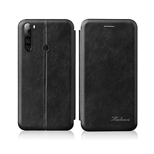 Suhctup Luxus Tasche Kompatibel für Samsung Galaxy S8 Hülle Außenseite aus Echt Leder Innenseite aus Textil Magnet Schutz Case Ständer mit Ultra Slim Cover Bookstyle Klappbar