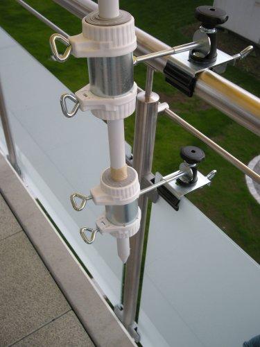 Balcon-support pour parapluie-bâtons de ø 25,5 à 40 mm-lot de 2–support jusqu'à 35 mm de diamètre-moyen-distance support de parasol pour balcon pour l'extérieur ou à l'intérieur pour fixer avec 11 cm de distance de holly breveté pour parapluie-fixation rond ou carré-éléments : env. 2 à 35 m avec support rotatif à 360° avec fixation pour gUMMISCHUTZKAPPEN kratzfreien pivotante à 360°-espacement plots support pour parapluie-bâtons de 25,5 à 45 mm ø 13 cm avec inscription profond de manche et bec long : 11 cm-distance filetage-innovation axe-fabriqué en allemagne-holly ® produits sTABIELO holly-- sunshade ® sCHIRMEN à sur - 2,5 cm de diamètre - 2 supports à 2 ou-te utiliser pour des raisons de sécurité (kabelbinder)