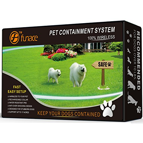 100% Wireless Pet Containment System - WiFi Radio Dog Fence - No Wire, No Dig, No Bury - Rechargeable and Water Resistant Collar - Large Coverage Area: 40-500 Ft Radius, up to 17 Acres (2 Dogs)