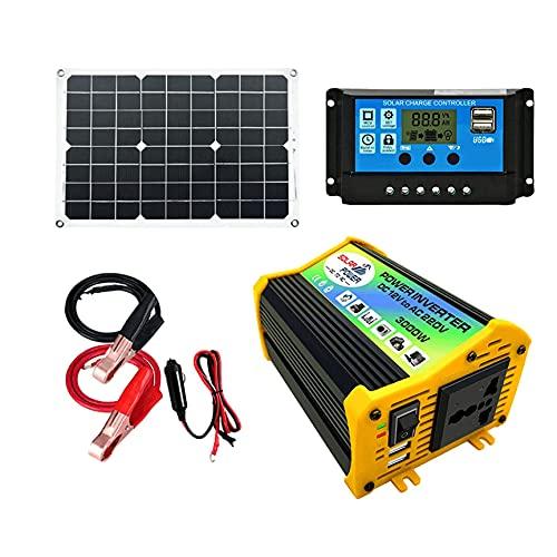 COUYY Kit de Paneles solares, Sistema de energía Solar Flexible monocristalina con inversor 300W y 30A Control de Carga para Aplicaciones de Rejilla Off 18W